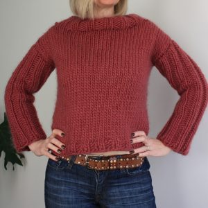 Cropped Sweater Easy Knitting Pattern
